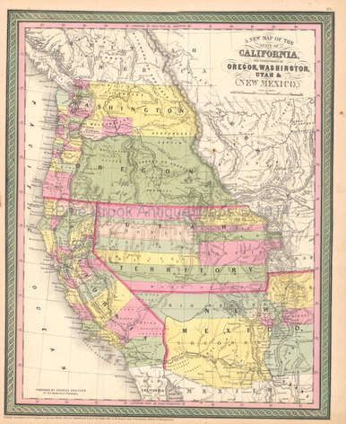 California Oregon Territory Antique Map DeSilver 1855 ...