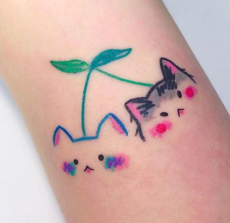 Cat Tattoo, Get A Tattoo, Tiny Tattoo, Small Tattoos, Small Colorful Tattoos, Anime Tattoos, Body Art Tattoos, Kawaii Tattoos, Pretty Tattoos