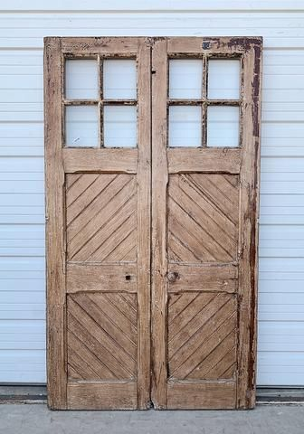 Pair Of 12 Lite Washed Wood French Doors In 2020 Wood French Doors Doors French Front Doors