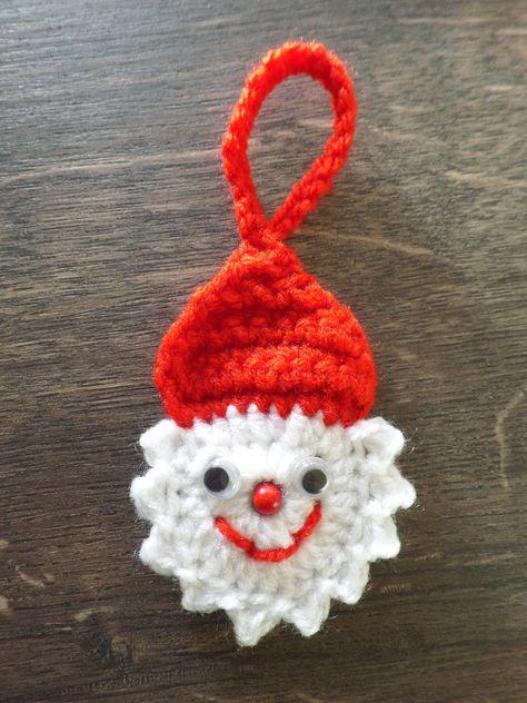 Gehäkelt Weihnachtsmann klein Weihnachten Applikation Baumschmuck Dekoration