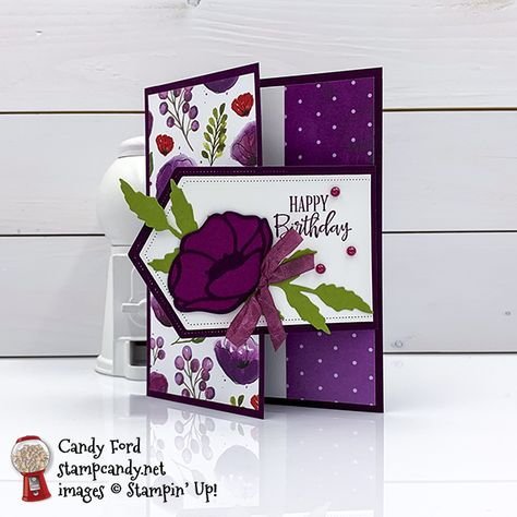 Stampin' Up! Peaceful Moments birthday card - Stampin' Up! Peaceful Poppies, Painted Poppies, Poppy Moments Dies, happy birthday card by Candy - Homemade Birthday Cards, Homemade Cards, Diy Birthday, Birthday Board, Fun Fold Cards, Folded Cards, Joy Fold Card, Cool Cards, Cactus Paint