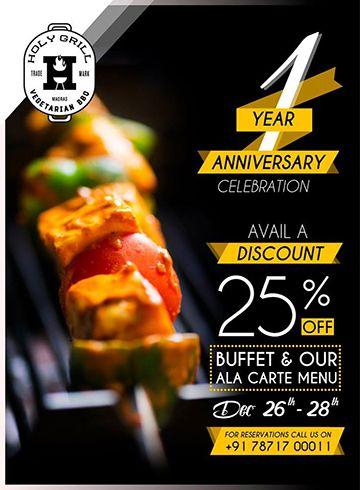 Holy Grill Anniversary Offer Restaurant Poster Design
