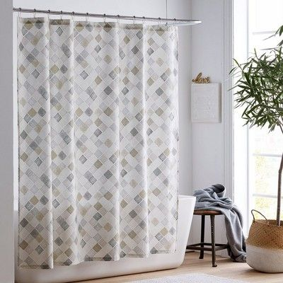 Organic Cotton Shower Curtain With Linear Hand Painted Diamonds Forming A Tonal Trellis In Palette Of Soft Neutrals 200 Thread Count Certified