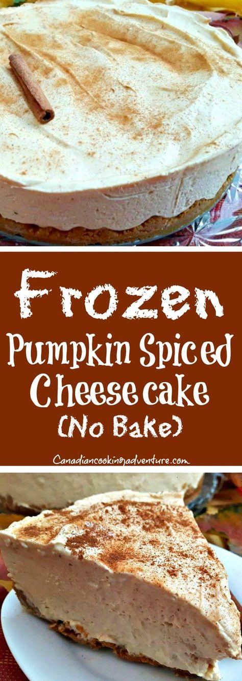 Frozen Pumpkin Spiced Cheesecake (No Bake)