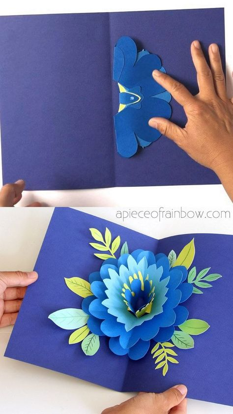 Easy DIY Happy Mother's Day card with beautiful big pop up flower: tutorial, video & free printable templates for handmade version & Cricut print and cut! - A Piece of Rainbow DIY cards DIY Happy Mother's Day Card with Pop Up Flower Diy Happy Mother's Day, Happy Mother's Day Card, Happy Mother S Day, Happy Mothers, Mother's Day Diy, Happy Mother's Day Greetings, Pop Up Flower Cards, Pop Up Cards, Pop Up Christmas Cards