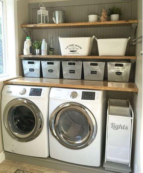 50 Farmhouse Laundry Room Storage Organization Ideas
