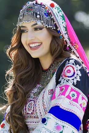 Afghan woman in traditional dress