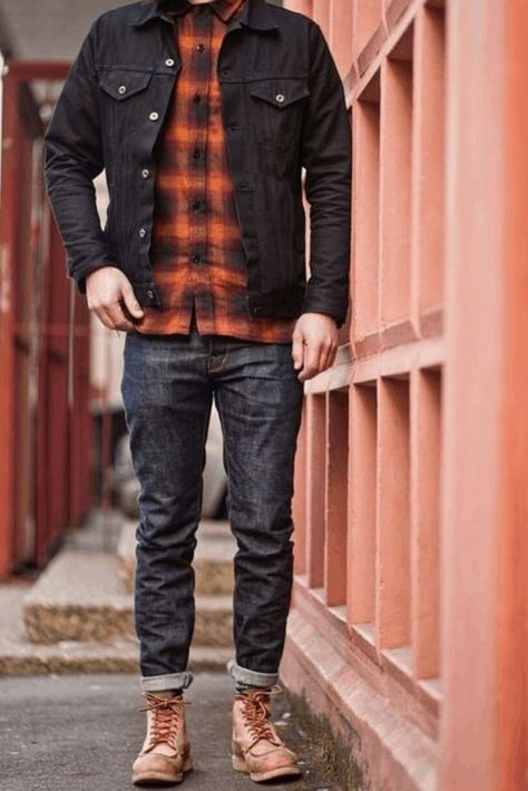 vage with an awesome rugged double denim look with a plaid rust bla… Sam Lawrence.vage with an awesome rugged double denim look with a plaid rust black plaid flannel black denim jacket raw denim tan moc toe red wing heritage boots Denim Jacket Men Style, Black Denim Jacket Outfit, Denim Jacket Fashion, Denim Style, Jeans Men Fashion, Men 90s Fashion, Rugged Fashion, Fashion Apps, Fashion Vintage