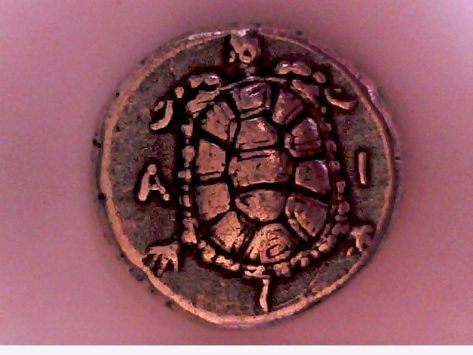 Ancient Greek Stater Silver Plate Aegina Sea Turtle Tortoise Repro coin gift