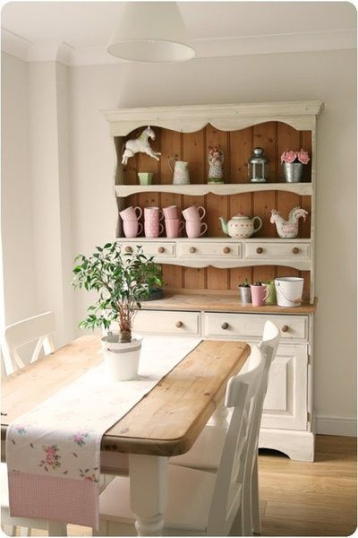 Painted pine welsh dresser and painted pine dining table.
