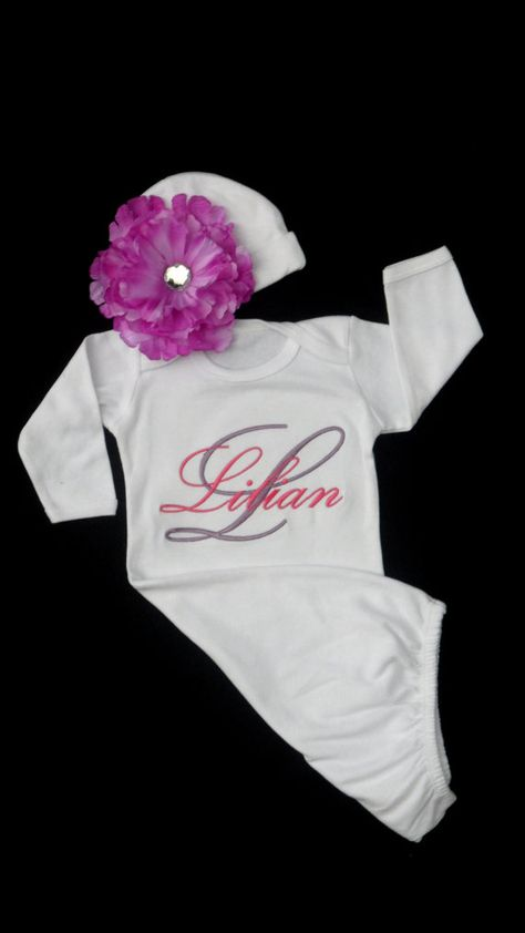 611cba979ca44 Newborn Girl Take Home Outfit Monogram Layette Gown Personalized Baby Girl  Clothes Layette Gown and Beanie