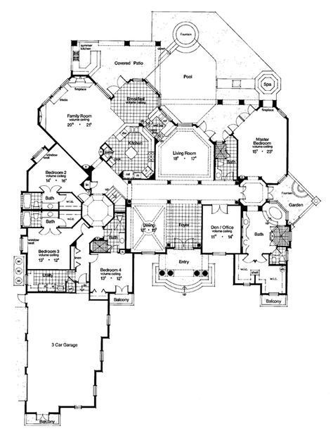 Mediterranean Floor Plan Main Floor Plan Plan 417 538 Luxury House Plans House Blueprints Dream House Plans