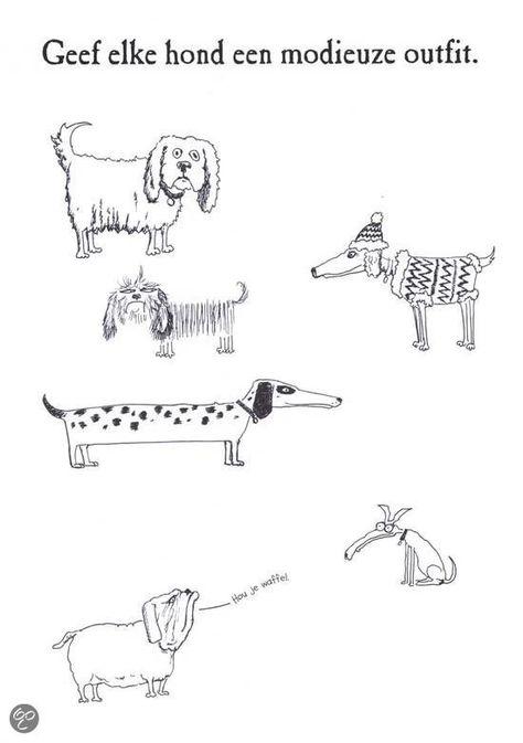 Geef elke hond een modieuze outfit. - Vul de tekening aan en kleur in.