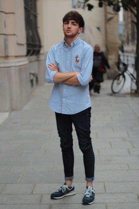 NEW BALANCE sneakers men. Ralp Lauren blouse with black long pants (by Jordan Henrion)