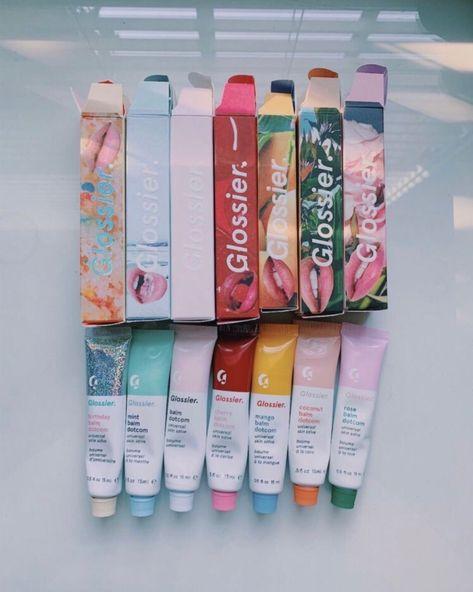 Glossier skin care carries a lot of good lip gloss and chapstick. Beauty Care, Beauty Skin, Beauty Makeup, Gloss Labial, Balm Dotcom, Glossy Lips, Glossy Makeup, Healthy Skin Care, Face Skin Care