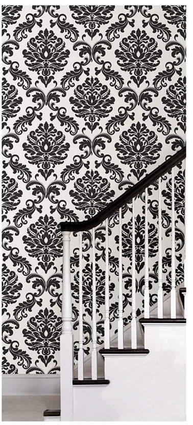 Brewster Home Fashions Ariel Black And White Damask Peel And Stick Wallpaper Peel And Stick Wallpaper Feature Wall Wallpaper Removable Wallpaper