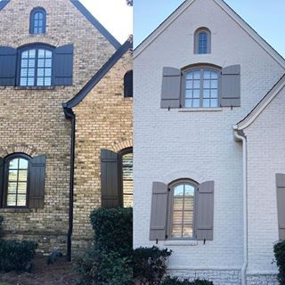This Is An Excellent Example Of Going From Drab To Modern Farmhouse Fabulous With Romabio M House Paint Exterior Painted Brick Exteriors Exterior Masonry Paint