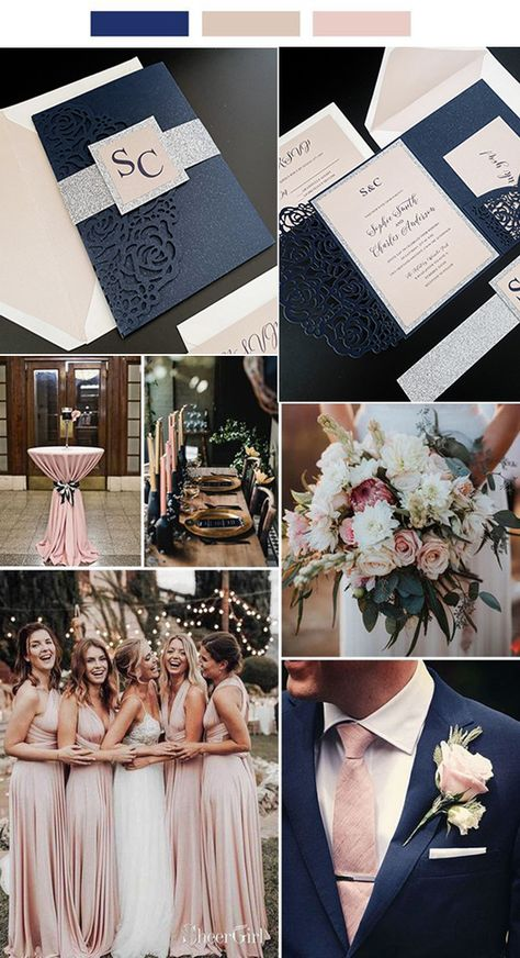 navy blue and blush pink wedding color ideas with wedding invitations