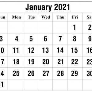 January 2021 Calendar Templates Landscape   Calendar template