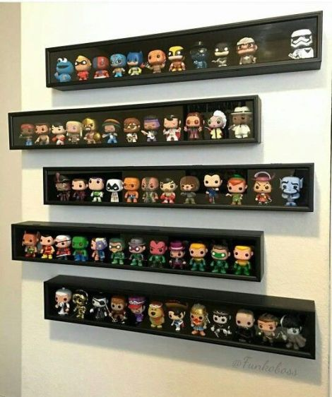 baseball bat display case for funko pops Funko Pop Shelves, Funko Pop Display, Toy Display, Display Case, Display Ideas, Geek Room, Do It Yourself Baby, Video Game Rooms, Geek Decor