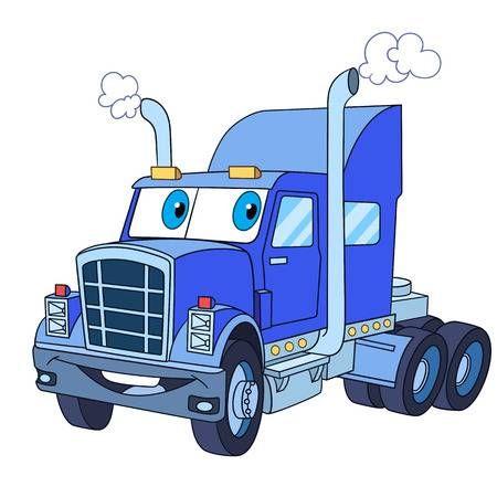 El Transporte De Vehículos De Dibujos Animados Camiones Pesados Semi Remolque Camión Aislado En Fondo Blanco Ilustración Infantil Y La Página De Libro C Camiones Para Niños Camion Dibujo Camiones