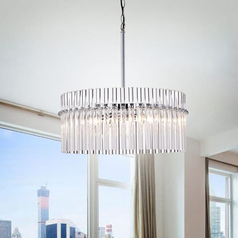 Neva 4 Light Candle Style Drum Chandelier with Accents