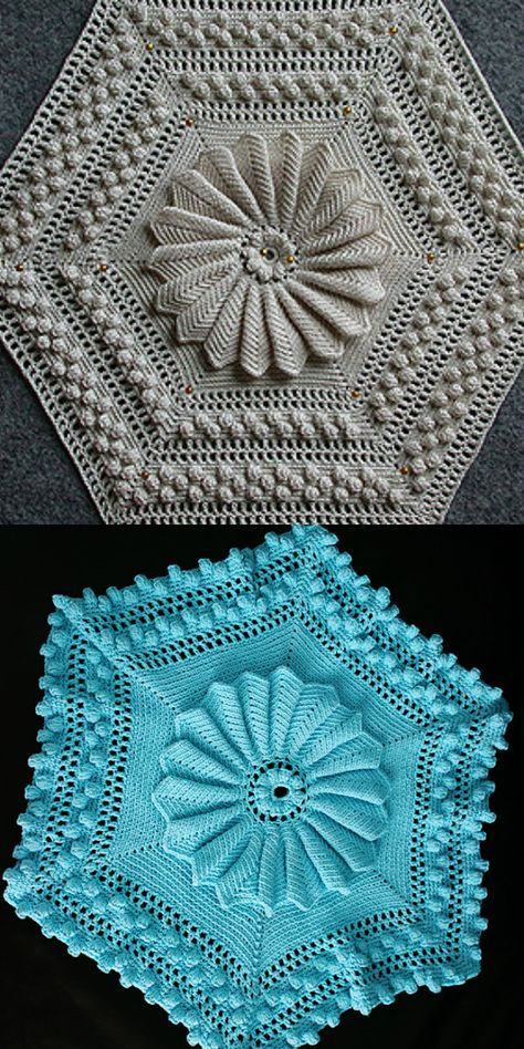 Vintage Crochet PATTERN to make Bedspread Block Motif Dimensional Marguerite