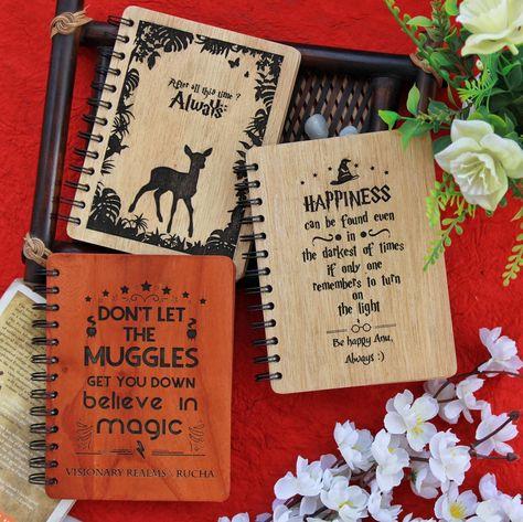 Harry Potter Wooden Notebook- Set of 3 - Large / Golden Teak