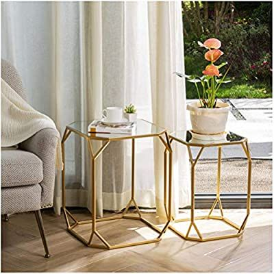 Amazon Com Glitzhome Set Of 2 Nesting Coffee Tables Decorative Accent Side End Tables Plant Stand In 2020 Nesting Coffee Tables Nesting End Tables Side And End Tables