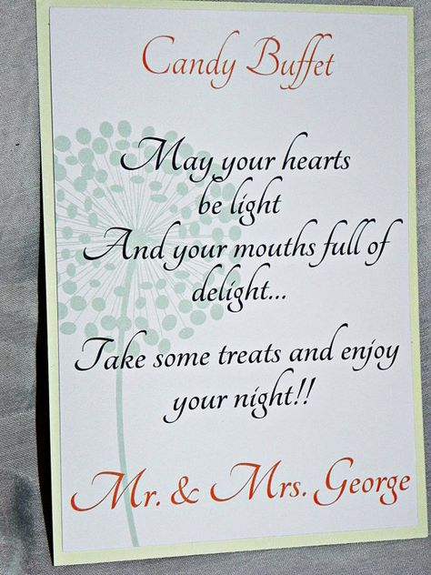 PRINTABLE Wedding Sign/Candy Buffet Sign/Sweets Table Sign in coral and mint for wedding or party on Etsy, $8.52 CAD