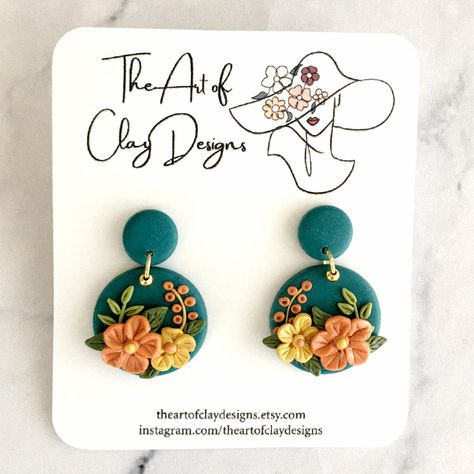 Farrings Minimalist Polymer Clay Earrings Teal and Orange Polymer Clay Floral Earrings Handmade Polymer Clay Jewelry. Gift for Her