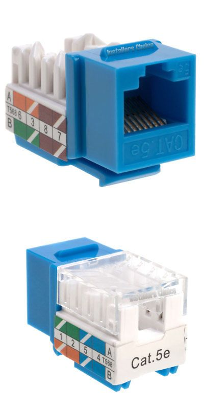 20 Pack Lot Keystone Jack Cat5e Network Ethernet 110 Punch Down 8p8c Blue Cat5 Wall Jack Ethernet Wiring Plates On Wall