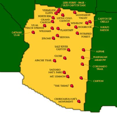 TakeMyTripcom State Map Arizona Attractions Western US Road - Map of arizonain in us