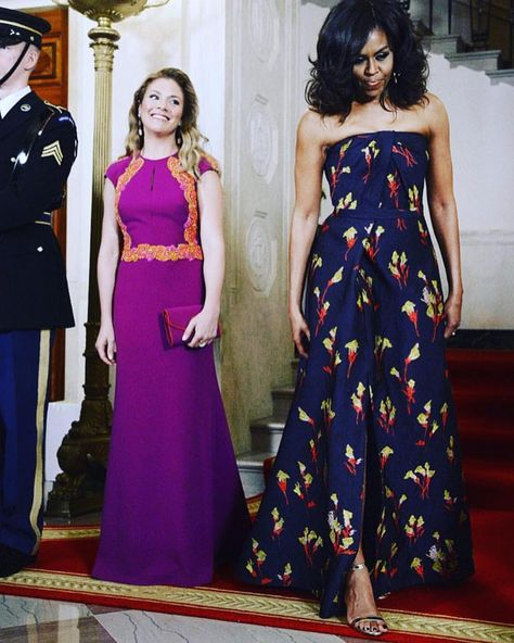 Sophie Grègoire-Trudeau, the wife of Canadian Prime Minister Justin Trudeau and a woman known for her glamour, giving it up for First Lady Michelle Obama in midnight blue Jason Wu at last night's official state dinner