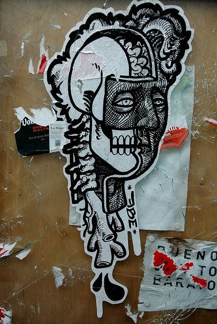 Totally bad and rad street art stickers and paste ups! See graffiti on a small scale that has a big artistic punch! http://blog.nextdayflyers.com/treet-art-25-cool-stickers-and-paste-ups/