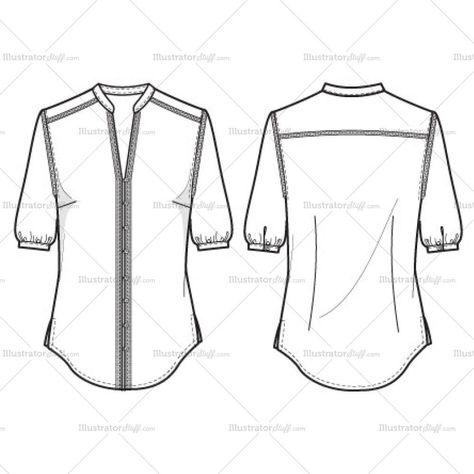 Women's Y-Neck Blouse with Fagotting Trim Fashion Flat Template