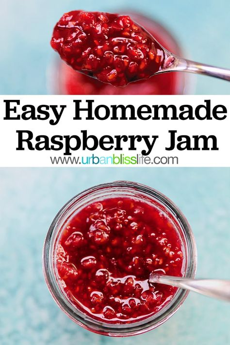 This easy homemade raspberry jam recipe is perfect for using in baked goods, on appetizers, in a sauce for entrees, and more! Get the full recipe on UrbanBlissLife.com #raspberries #jam #homemadejam #homemadejelly #raspberry #berryseason #freshfruit #canning