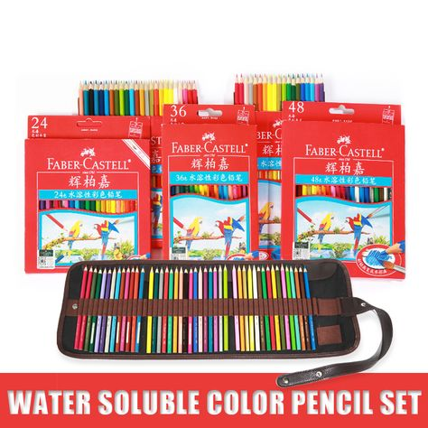 48colors Water Colored Pencils Profissional Watercolor Brush Lapis