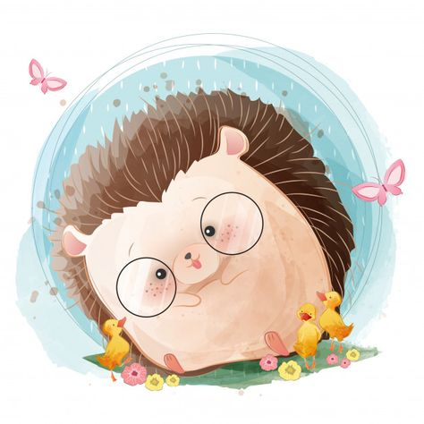 Cute baby hedgehog Premium Vector | Free Vector #Freepik #vector #freebackground #freepattern #freeflower #freewatercolor
