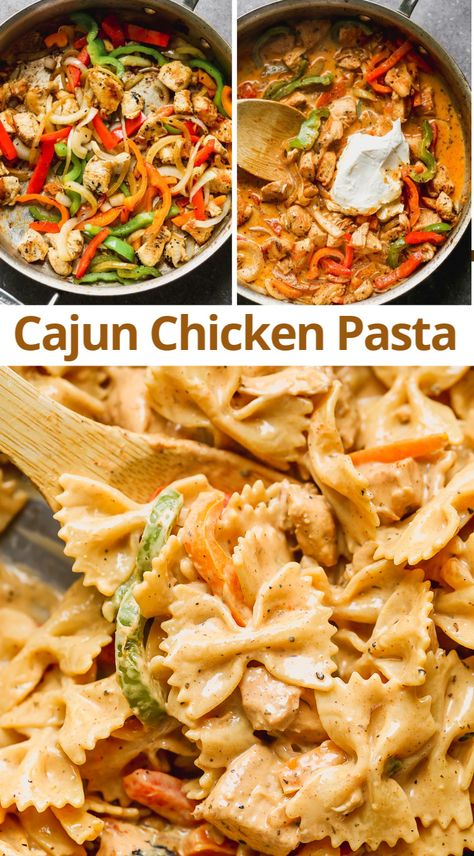 This EASY Cajun Chicken Pasta is one of our families FAVORITE dinners! Pollo Cajun, Cajun Chicken Pasta, Chicken Alfredo, Pasta Dishes With Chicken, Italian Chicken Pasta, Healthy Chicken Pasta, Pasta Food, Chicken Broccoli, Gourmet