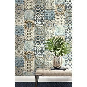 Nextwall Moroccan Tile Vinyl Peelable Wallpaper Covers 30 75 Sq Ft Nw30002 The Home Depot In 2021 Moroccan Tile Peel And Stick Wallpaper Removable Wallpaper