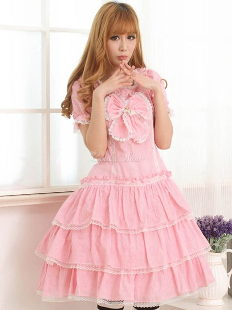 Lolitashow Pink Short Sleeves Jewel Neck Bow Lolita One-Piece - Lolitashow.com