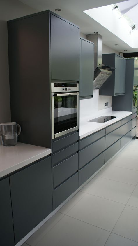 Modern handle-less grey matt painted bespoke kitchen with white - schüller küchen erfahrungen