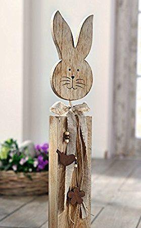 Osterhase Deko-Figuren Ostern Holz Hasen Landhaus Spruch Frohe Ostern Osterdeko