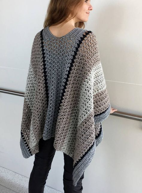 Crochet Ruana PATTERN, Crochet Poncho Pattern, Large Wrap, Crochet Sweater, Shawl, Top, Boho, Garment, PDF, Crochet for Women, Large Scarf: This KnotYourselfOut crochet ruana pattern is named: STRIKING STRIPED RUANA. I really do like this ruana. It is very versatile and can be worn