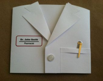 White Lab Coat Card. Congratulations. Invitations. Graduation. Custom.