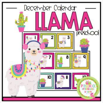 Free December Llama Calendar Number Cards 1 31 Name Of Month December Only Clipart From Ter Calendar Printables Preschool Printable Monthly Calendar Printable