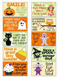 free halloween lunch box notes at