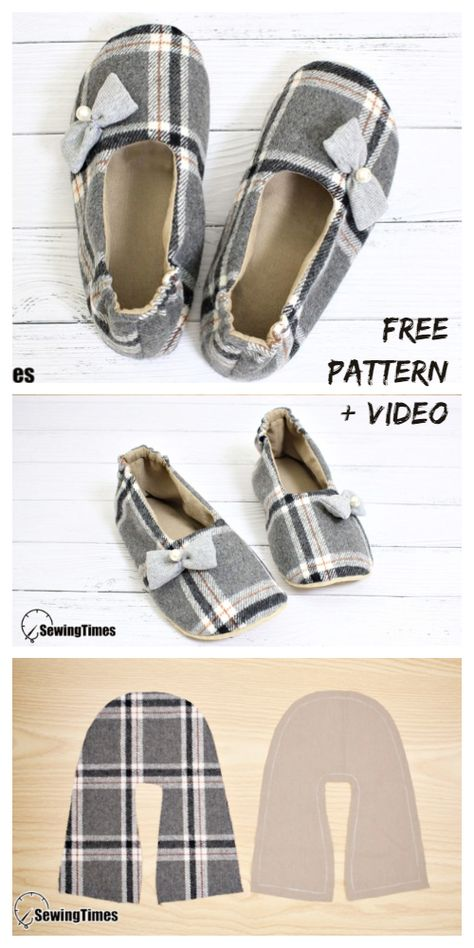 icu ~ Pin on My Pins ~ DIY Fabric House Slippers Free Sewing Patterns + Video Sewing Patterns Free, Free Sewing, Fabric Patterns, Sewing Tutorials, Easy Sewing Projects, Pattern Sewing, Sewing Slippers, Kids Slippers, Fabric Shoes