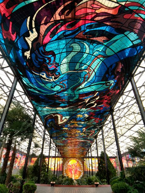 The Cosmovitral Botanical Garden — Toluca, Mexico - 500 species of plants, although the collection almost pales in comparison to the sprawling stained-glass ceiling, which covers nearly square feet of space.
